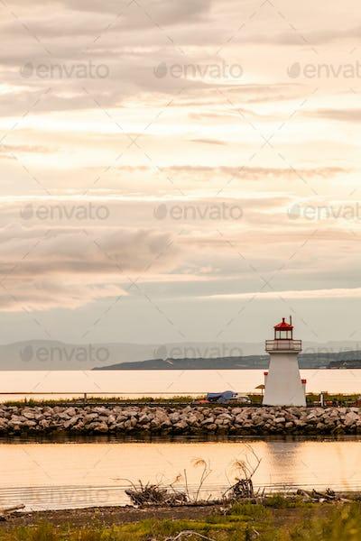 Backlit Lighthouse in Gaspe Peninsula