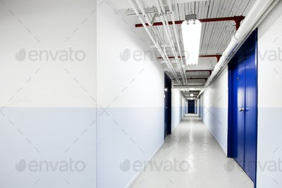 Long Blue Corridor (with room for text)