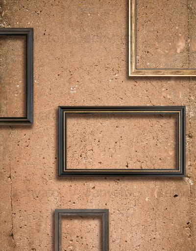 Concrete texture and wooden frames