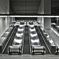 Sets of Working Escalator (wide angle)