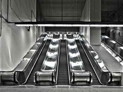 Sets of Working Escalator (wide angle)