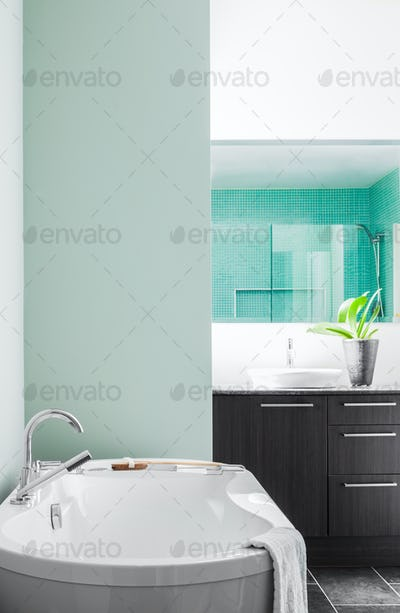 Modern Bathroom using soft Green Pastel Colors