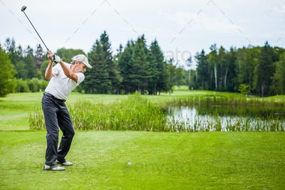Mature Golfer on a Golf Course