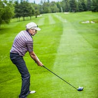 Golfer at the Start with Copyspace for your text