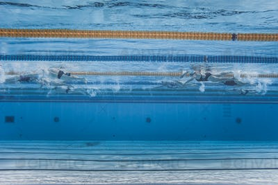 Unrecognizable Professional Swimmers Training