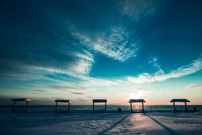 Picnic Table at the Sea During the Winter