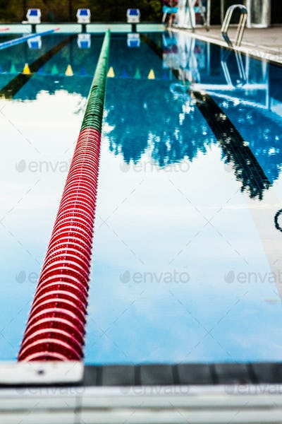 Olympic Pool Corridor Cables Floating