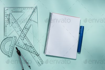 Clear notepad and rulers
