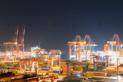shipping container terminal at night
