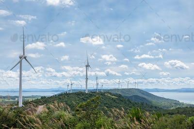 wind farm on lakeside