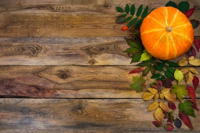 Happy Thanksgiving  greeting with fall leaves on rustic wooden b