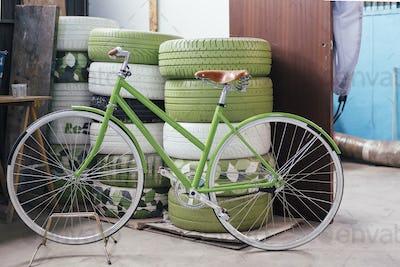 New beautiful green bicycle