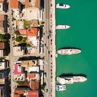 Aerial  view of Zakynthos city in  Zante island, in Greece