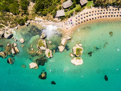 Aerial  view of Porto Zorro  Azzurro beach in Zakynthos (Zante)