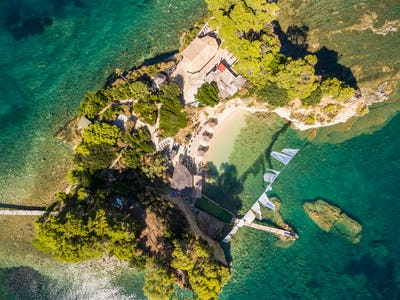 Aerial view of Cameo Island in Zakynthos (Zante) island, in Gree