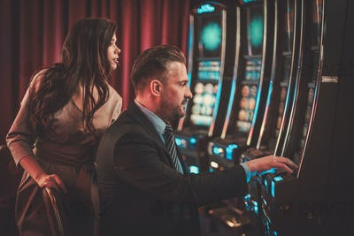 Coulenear slots machines in a luxury casino interior