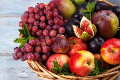 Basket of fresh organic fruits