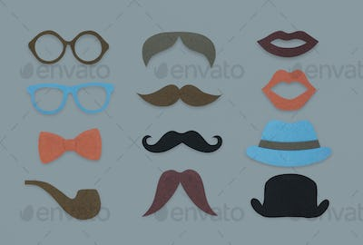 Glasses Pipe Moustache Hat Lipstick Marks Hipster Mix