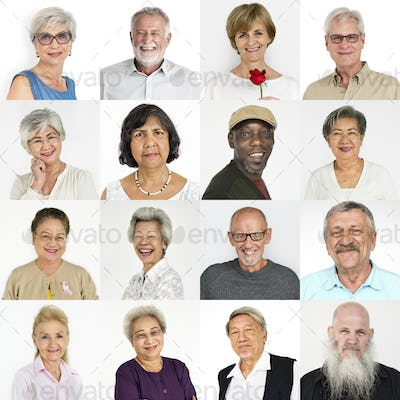 Set of Diversity Senior Adult People Face Expression Studio Coll