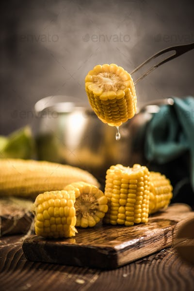 Steaming hot cooked corn