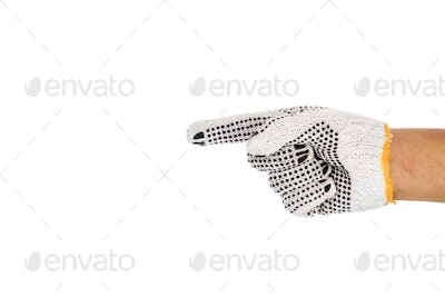 Hand in industrial glove pointing direction against white backgr