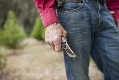weathered hands holding pruning shears