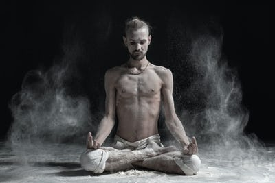 Padmasana with palms in mudra