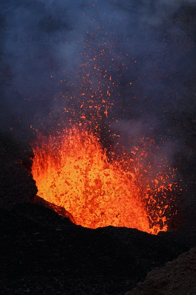 Eruption Volcano: Fountain Lava from Crater