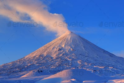 Active Volcano of Kamchatka: Eruption Klyuchevskoy Volcano at Sunrise