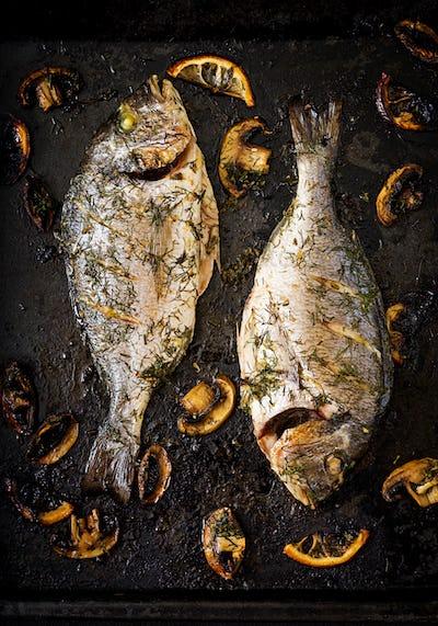 Baked dorado fish  in garlic dill sauce with mushrooms and lemon.Flat lay.Top view