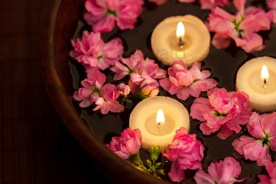 Floating candle and flowers