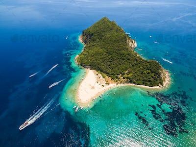 Aerial view of Marathonisi Island in Zakynthos (Zante) island, i