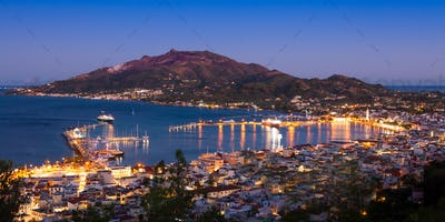 Panoramic Aerial night view of Zakynthos city in  Zante island,