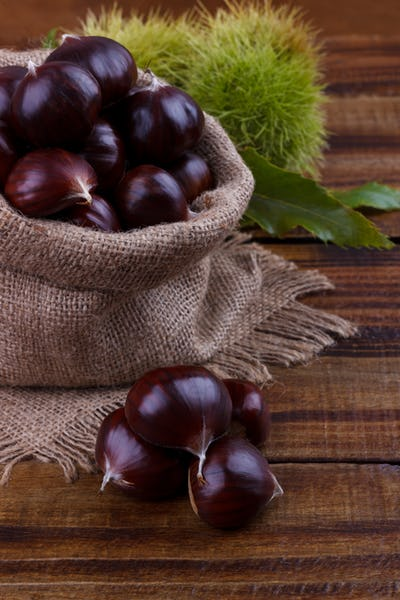 Fresh chestnuts in a sack