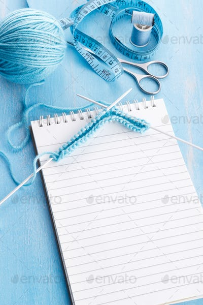 Blue knitting wool