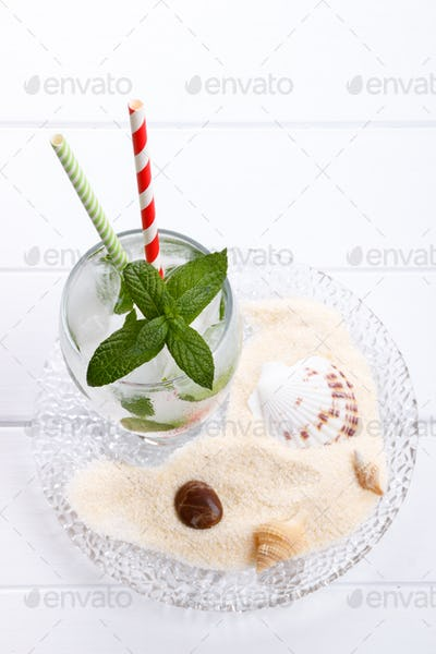 Fizzy summer soda drink with mint