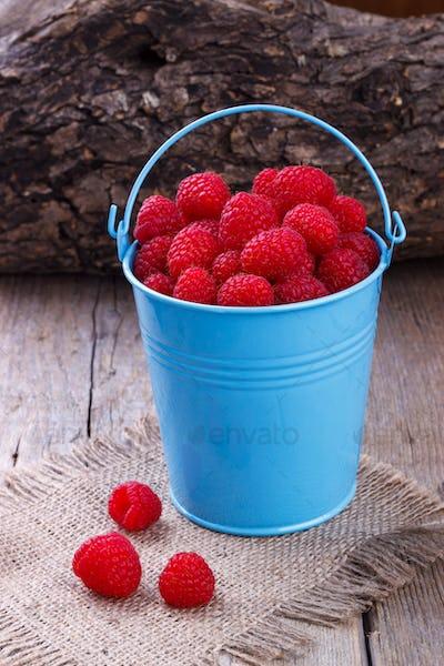 Raspberries in a bucket