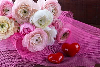 Wedding bouquet with hearts
