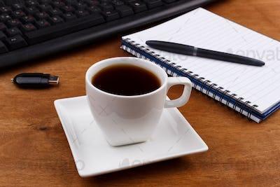 Coffee on an office desk