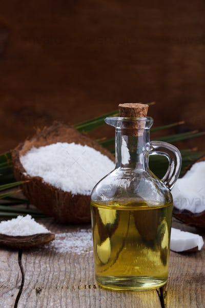 Coconut oil and coconut flakes