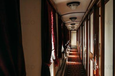 Vintage train, rich retro wagon interior, nobody