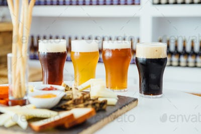 Four glasses of different craft beer