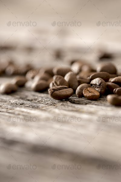 Coffee beans on table closeup