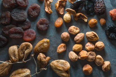Background of dried fruits dried apricots, figs and pears