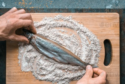 Preparation for frying fish smelt in flour