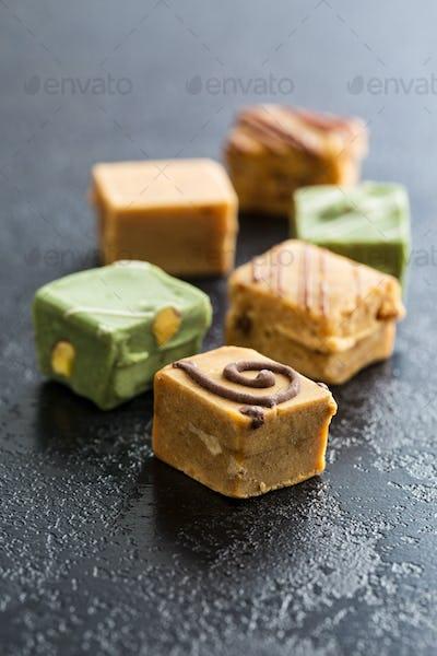 Various caramel candies.