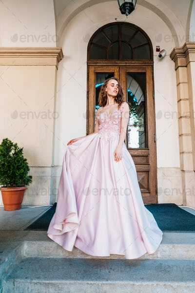 woman in a stylish evening dress