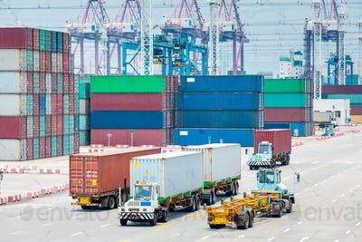 busy container port closeup