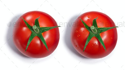 Tomato with and without dewdrops, top view, paths