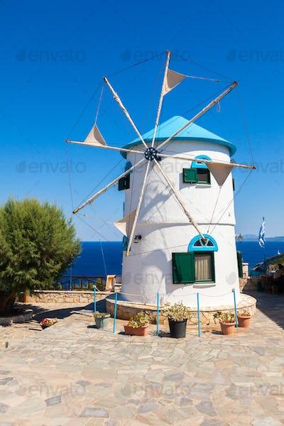 Old Windmill in Agios Nikolaos near blue caves in Zakynthos (Zan